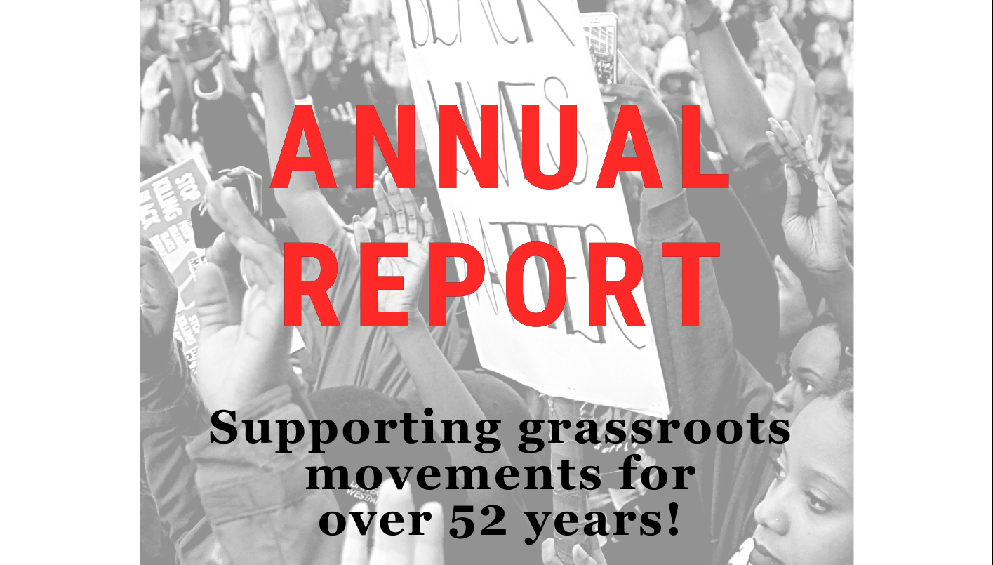 Cover of Resist's 2020 Annual Report - background: Black and White image of a Black Lives Matter protest with people holding up their hands in the air