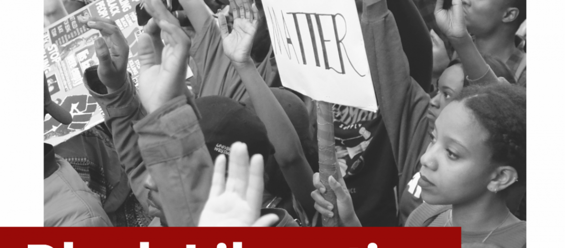 [Image description: Cover of Resist's Black Liberation Giving Guide. Black and white image of protestors holding up