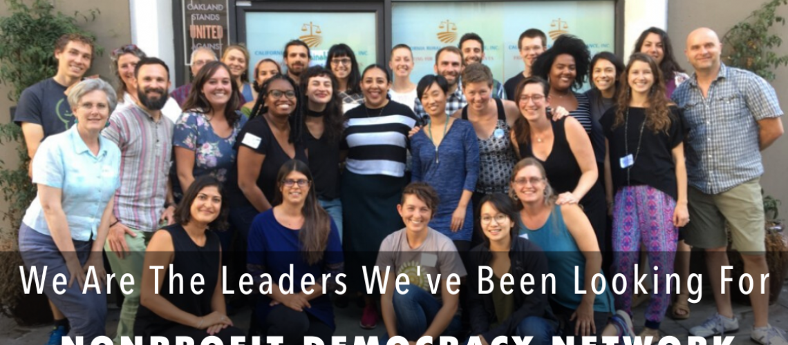 [ID: Nonprofit Democracy Network group photo. There are white words with black background that reads: